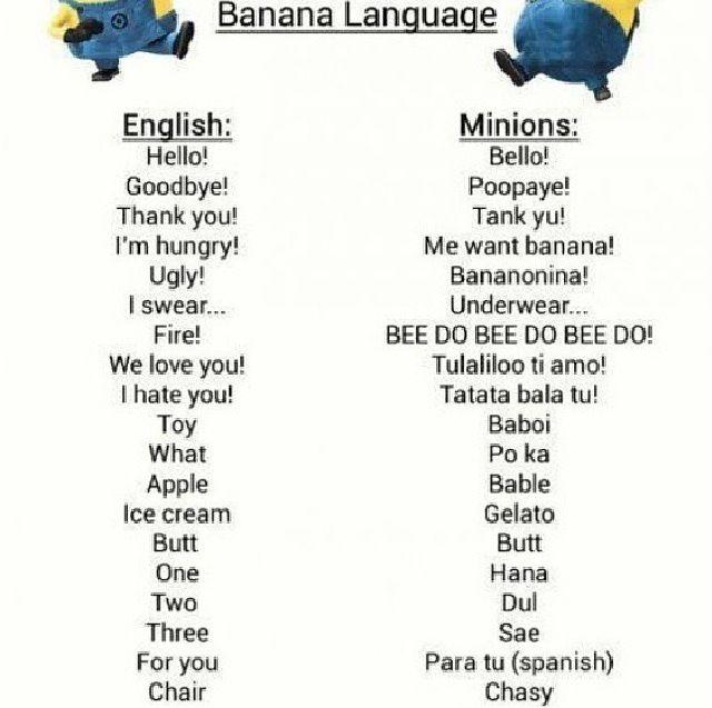 Minions Language BananaMinion Language Dictionary