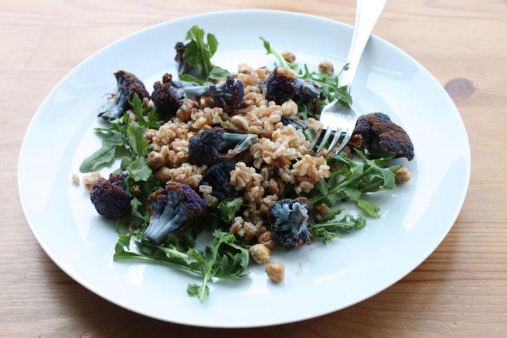 ... Balsamic Roasted Purple Cauliflower, Arugula, and Toasted Chickpeas