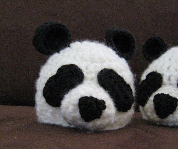 Crochet Panda Hat - Tutorial. kids knit hats Pinterest