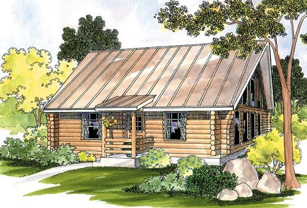 Cabin Log Ranch House Plan 69498