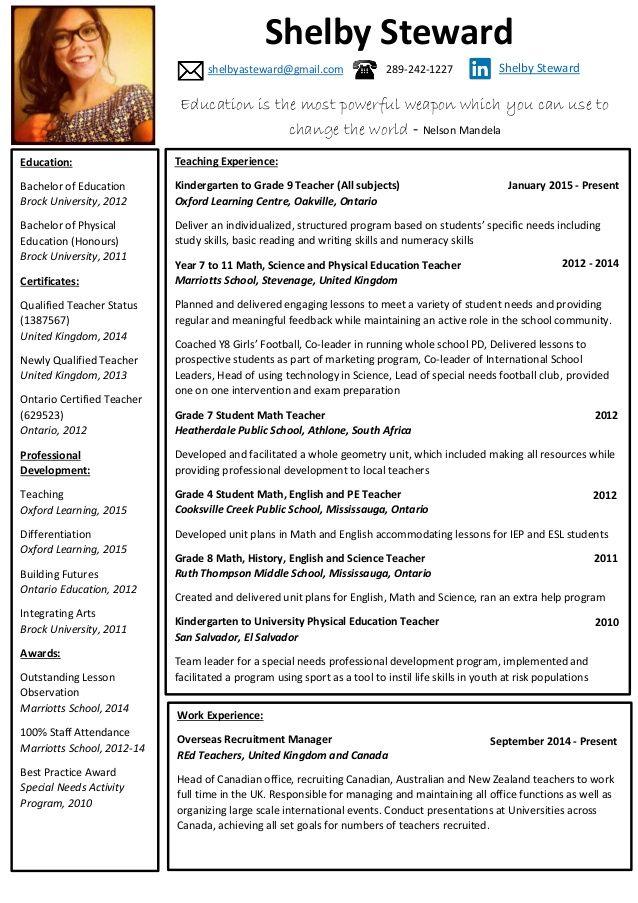 Best Resume Format For Lecturer Post