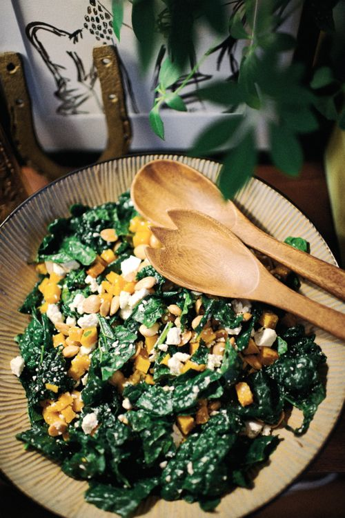 Kale Salad with Roasted Butternut Squash, Marcona Almonds & Ricotta ...