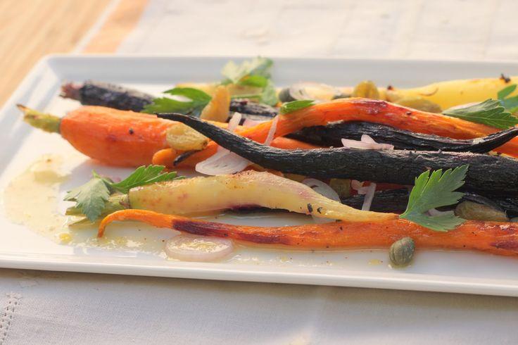 An original recipe: Roasted Carrot Salad with Lemon Tahini Vinaigrette