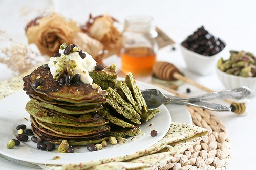 Matcha Green Tea Coconut Pancakes | Matcha | Pinterest