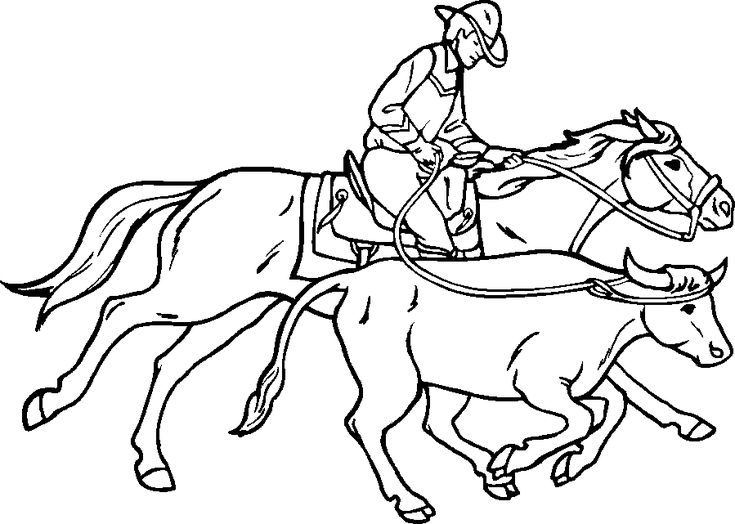 team roping coloring pages - photo#4