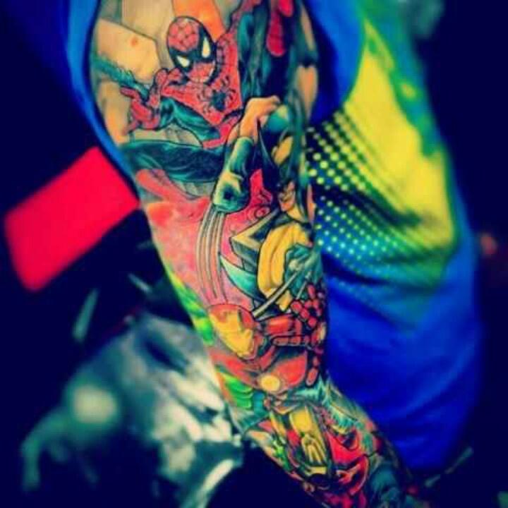 Marvel sleeve tattoo ideas pinterest for Marvel sleeve tattoo black and white