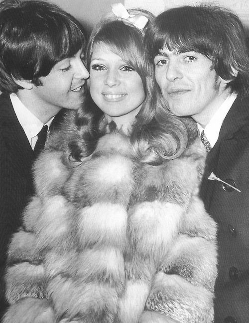 Paul and George with Patti Boyd  who later married George and EricGeorge Harrison And Pattie Boyd Wedding