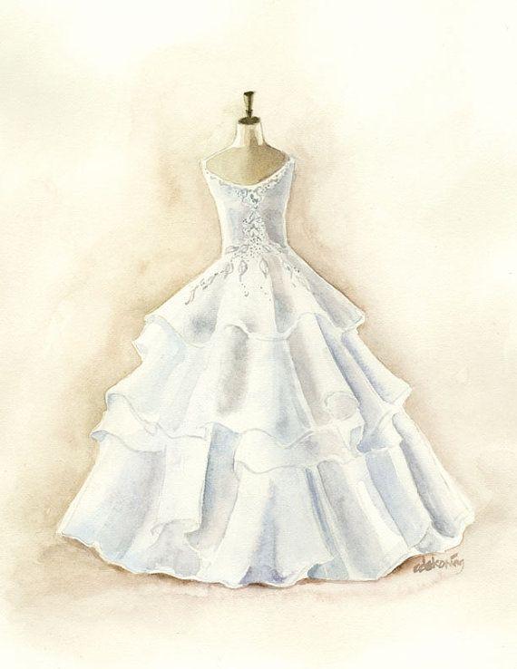 White Layered Wedding Dress Watercolor Painting 85x11 PRINT