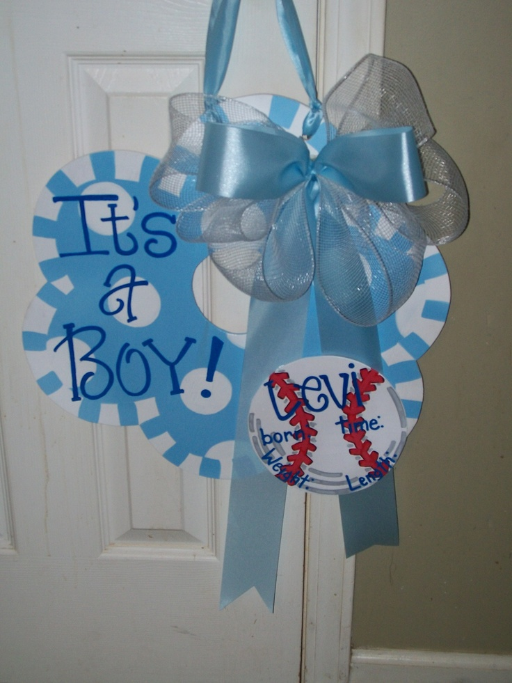 """Its a Boy"" hospital door hanger w/personalized baseball. $23. Birth details can be filled in when baby arrives. ""Its a Girl"" also available. Check out my facebook page (Blue Pickle Designs) for lots more items & ordering!!"