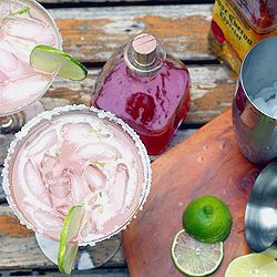 ... rhubarb syrup. Add lime juice + tequila. Shake. Pour. Rhubarbaritas