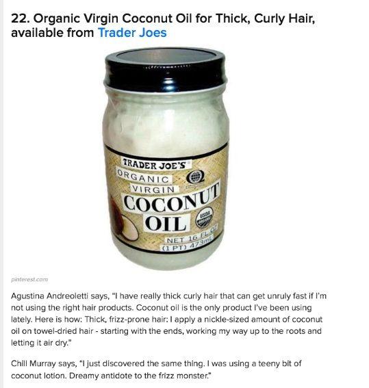 trader joe 39 s coconut oil hair make up nails lotions potions. Black Bedroom Furniture Sets. Home Design Ideas