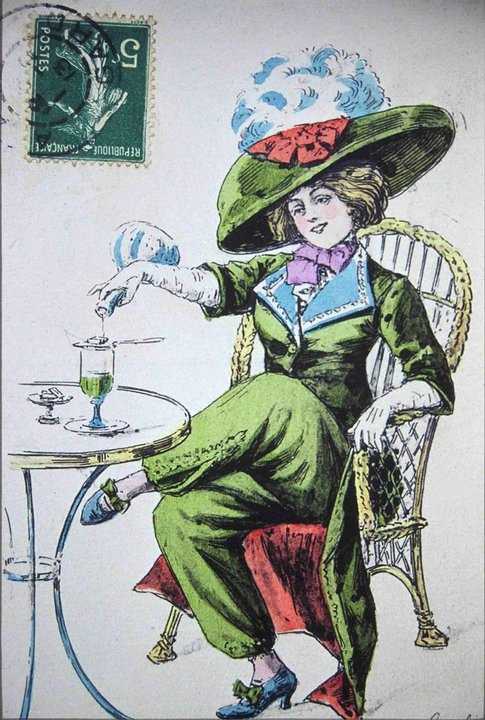 Absinthe Postcard: one of several pre-ban representations of women drinking absinthe.