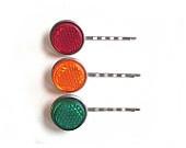 Hair Pins, Light Reflecting Bobby Pins, Red Yellow Green Hair