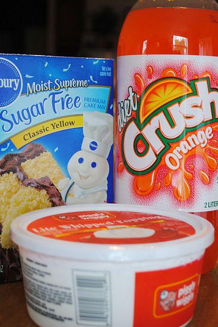 orange sherbert cake (low calorie)-using only three ingredients....