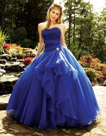 Royal Blue Strapless Gown