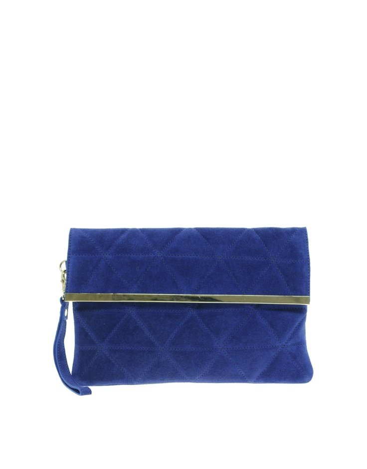 Cobalt blue quilted foldover suede Clutch bag by Asos, 30.78