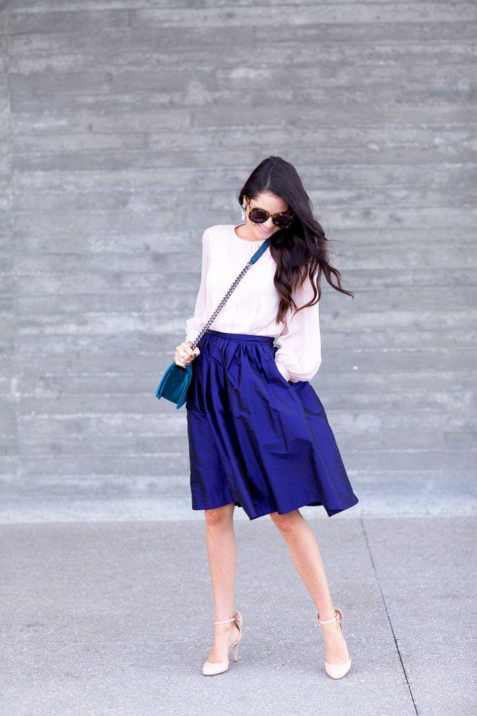 Navy blue midi skirt...