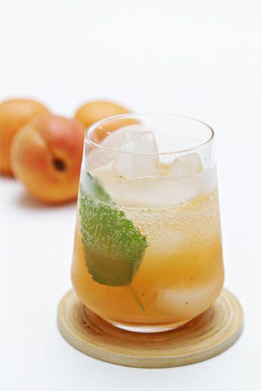 ... mint, sugar, apricots, light rum, apricot liqueur or Cognac, orange