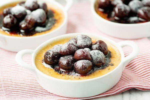 Crème Brûlée with Warm Cherries and Chocolate Sauce | Recipe