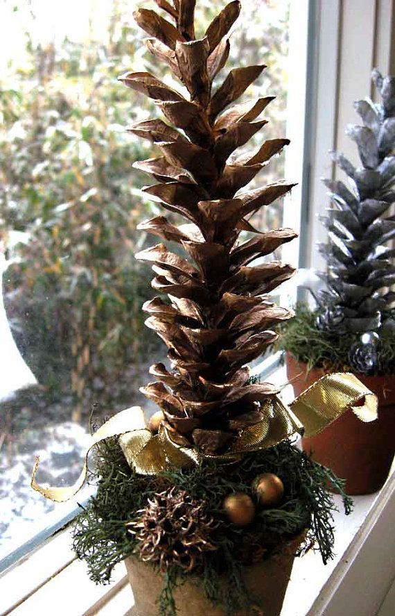 Gold amp silver holiday decor pine cone tree by forestnshorenaturals 8