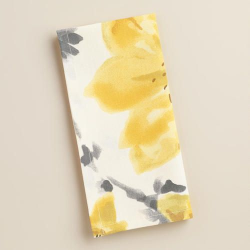 One of my favorite discoveries at WorldMarket.com: Yellow and Gray Floral Fleurs Napkins, Set of 4