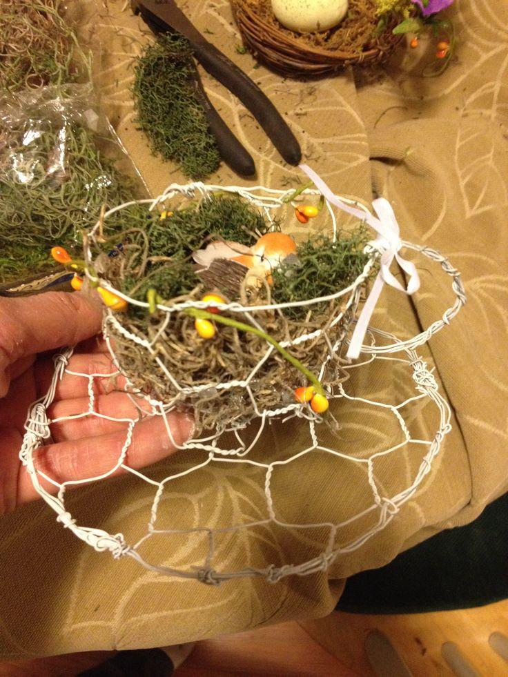 Chicken wire teacup nest | Spring Fair | Pinterest