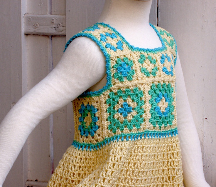 Crochet Granny Square Dress Patterns : Granny Square Yellow summer Dress - Crochet Pattern ...