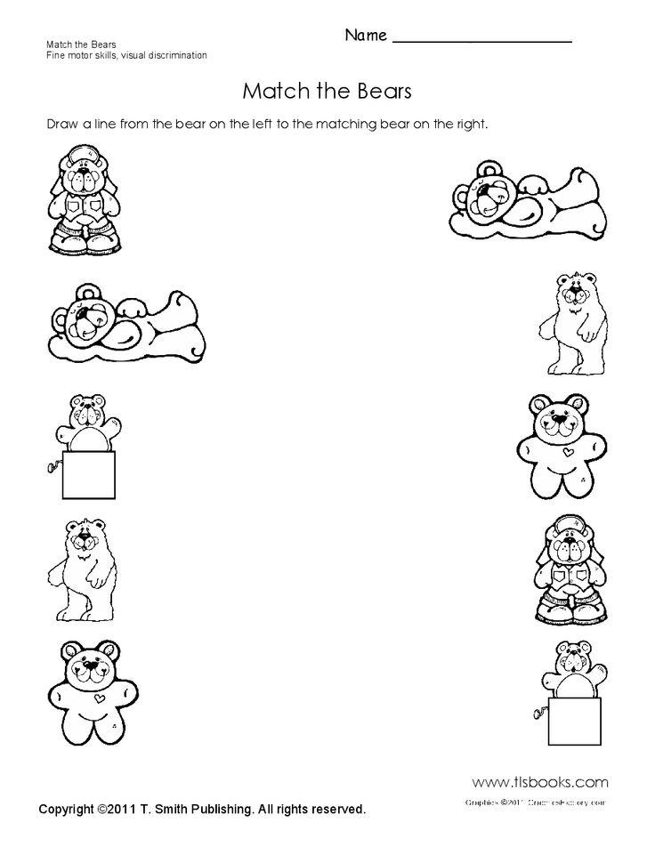 Preschool Worksheets Matching Similars : Match the bears preschool worksheet teddy snack