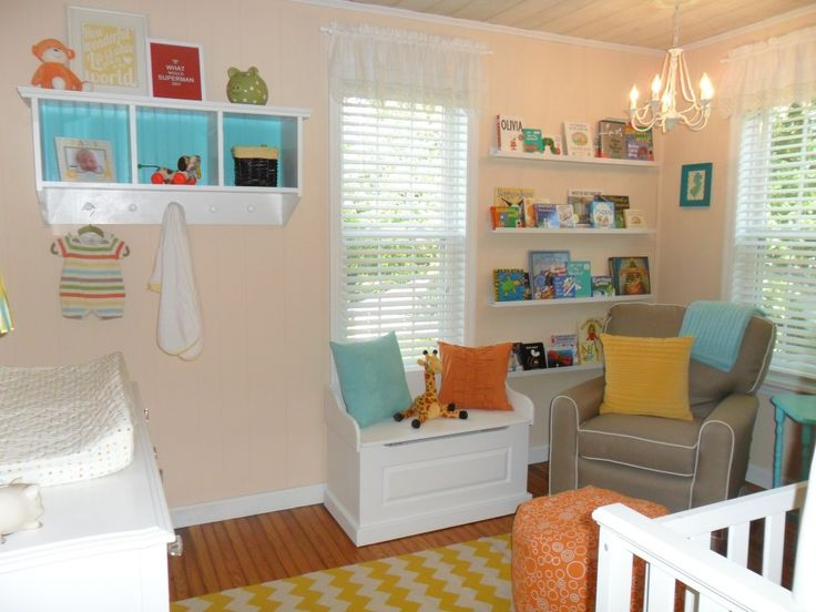 Yellow, orange and turquoise—this nursery is filled with fun accent colors.