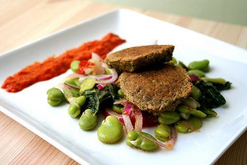 Baked Falafel with Fava Bean Salad & Harissa :