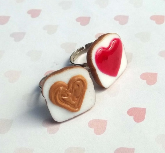 heart shaped strawberry peanut butter and jelly best friend rings pol ...