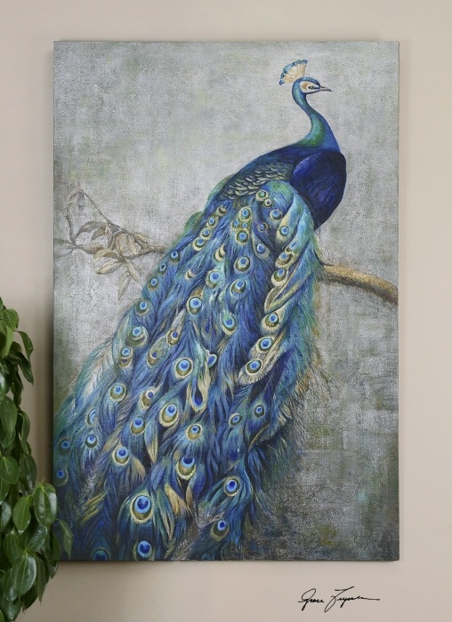 Blue peacock canvas wall art peacock passion pinterest for Peacock wall art
