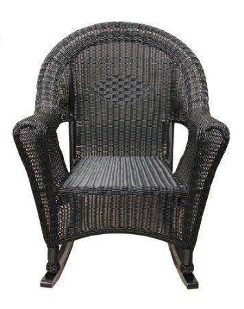 Amazon.com: Black Resin Wicker Rocking Chair Patio Furniture: Patio ...