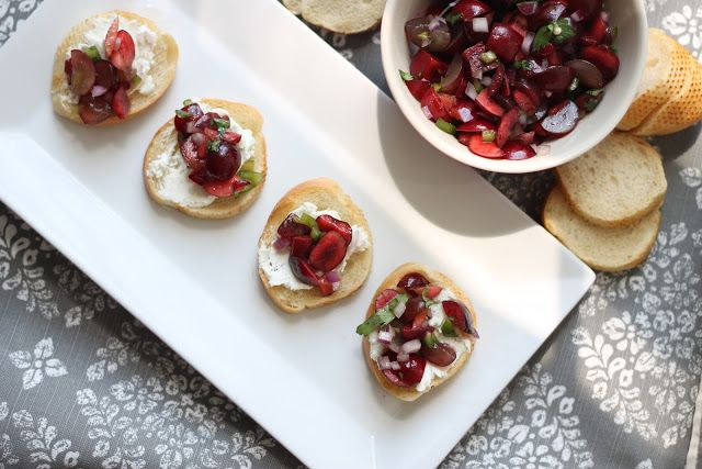 That's so Michelle...: Cherry & Grape Salsa with Goat Cheese Crostini