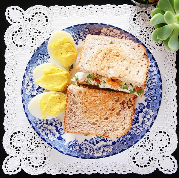 tuna sandwich + deviled eggs :)