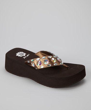 Take a look at this Bronze Marketa Sandal - Women by Yellow Box Shoes