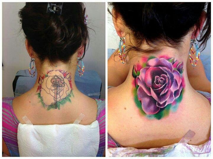 Watercolor rose tattoo cover up | Tattoos | Pinterest