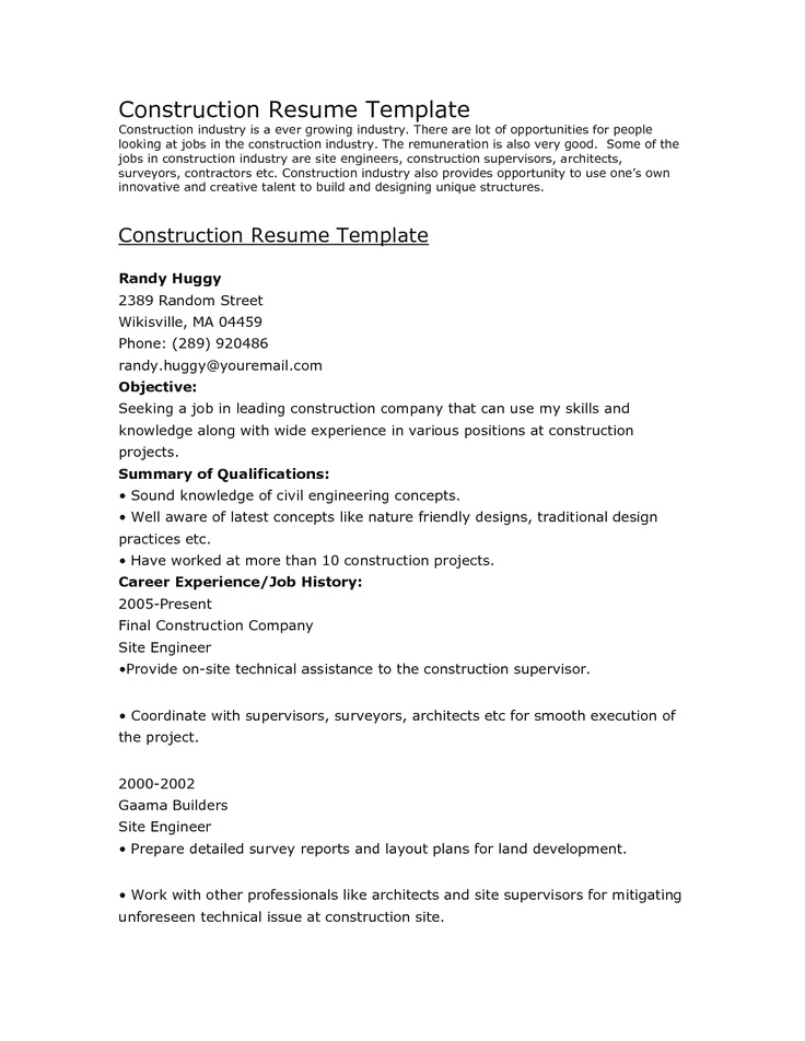construction resume template cv examples pinterest