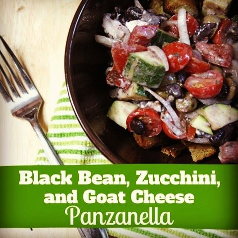 Black Bean, Zucchini & Goat Cheese Panzanella - a quick & easy meal t...