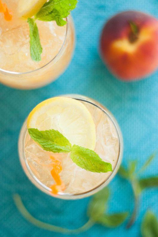 Sparkling Peachy Mint Lemonade   thekitchenmccabe.com