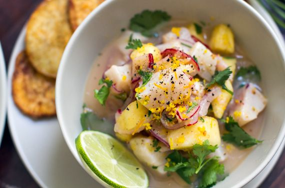Fish & Pineapple Ceviche With Yam Chips | Appetizers | Pinterest