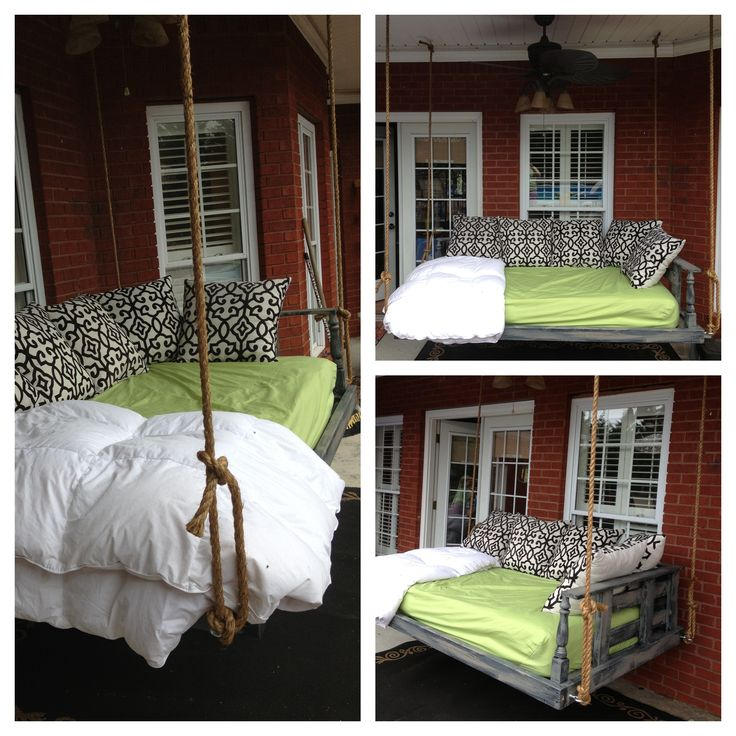 Bed swing outdoor spaces porches patios pinterest for How to make a porch swing bed