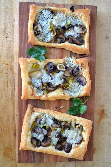 The view from Great Island: Leek, Mushroom and Gorgonzola Tarts