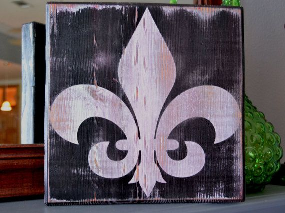 Fleur De Lis Custom Wood Sign Wall Art Home Decor New Orleans