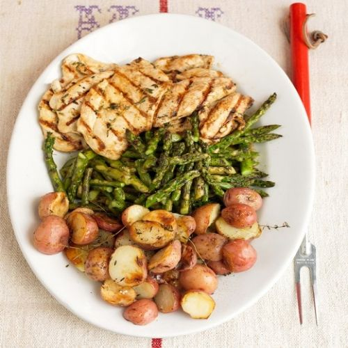Garlic-Marinated Chicken Cutlets with Grilled Potatoes and asparagus