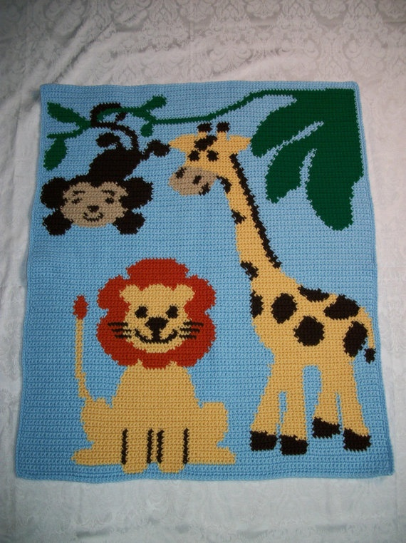 Crocheted Jungle Baby Afghan