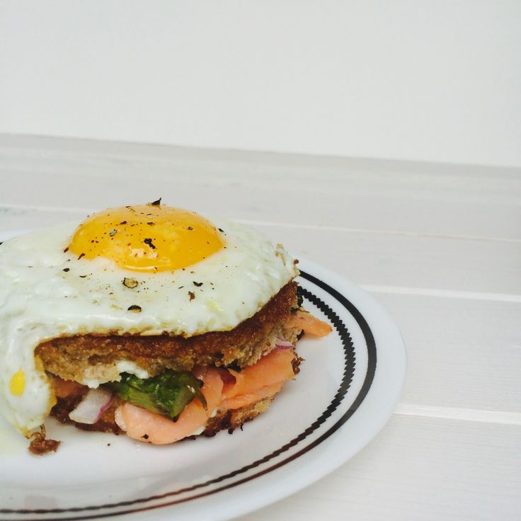 Smoked Salmon Goat Cheese Grilled Cheese with Asparagus and Fried Egg