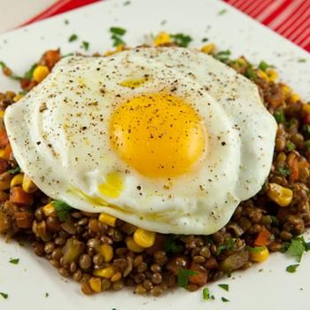 Braised Lentils Topped With An Olive Oil Fried Egg | Recipe