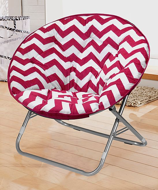 Pink amp white chevron saucer chair zulily