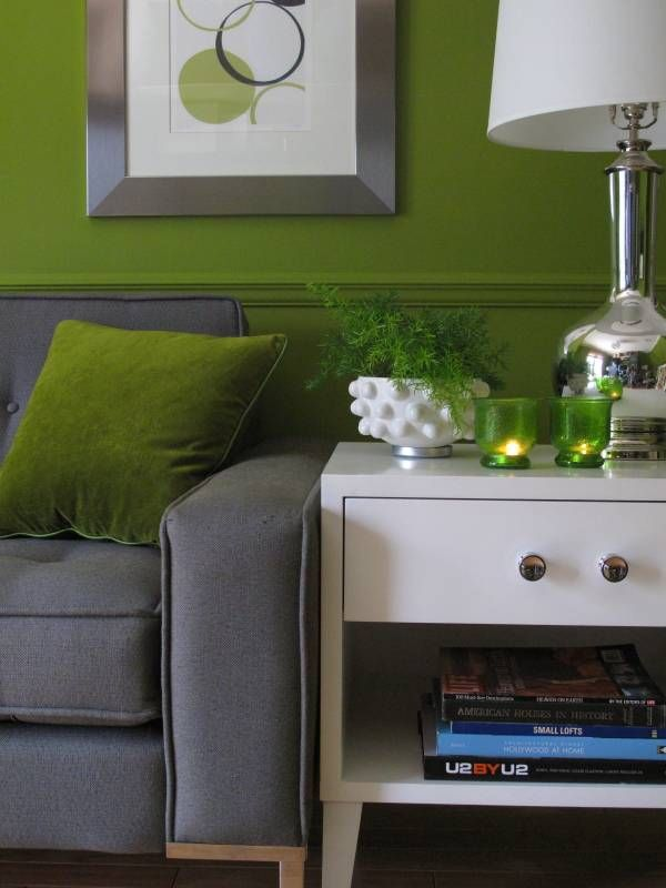 Green Wall With Gray Couch A Faire Pinterest